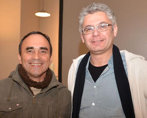 MISEREOR-Partner Juan Báez und Regisseur David Bernet bei der Filmvorführung in Recklingausen.