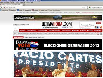 Screenshot der Website der Tageszeitung Ultima hora