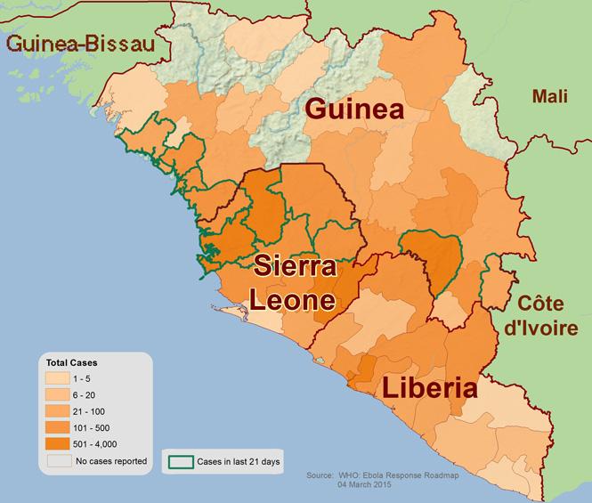 Diese Karte zeigt die Ausbreitung des Ebola-Virus in Guinea, Liberia und Sierra Leone. Stand März 2015 © Centers for Disease Control and Prevent5