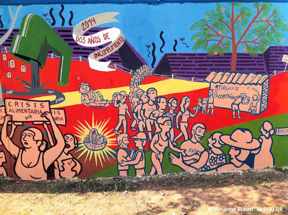 Wandgemälde zur Problematik der Gemeinde El Hatillo - Cesar
