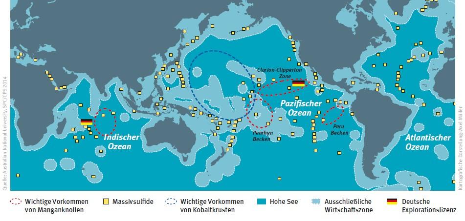 Die Meere als neue Rohstoffreservoirs: Wichtige Vorkommen mariner mineralischer Rohstoffe (Quelle: Australian National University, SPC/CPS 2014; Kartographische Darstellung: Axel Müller)