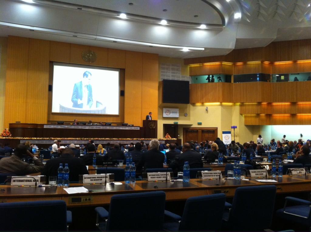 Bundesminister Gerd Müller, BMZ bei seiner Rede vor dem Plenum der 3. Konferenz für Entwicklungsfinanzierung, in der er ein Ende der Steuervermeidungstricksereien transnationaler Konzerne anmahnte.