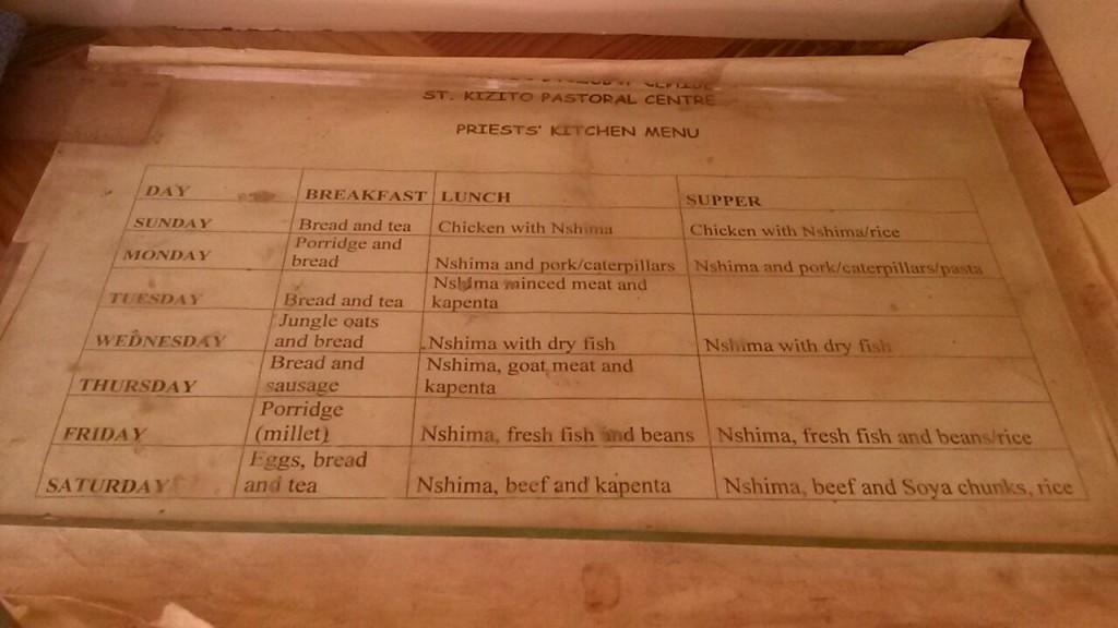 Speiseplan für das St Kizito Pastoral Centre