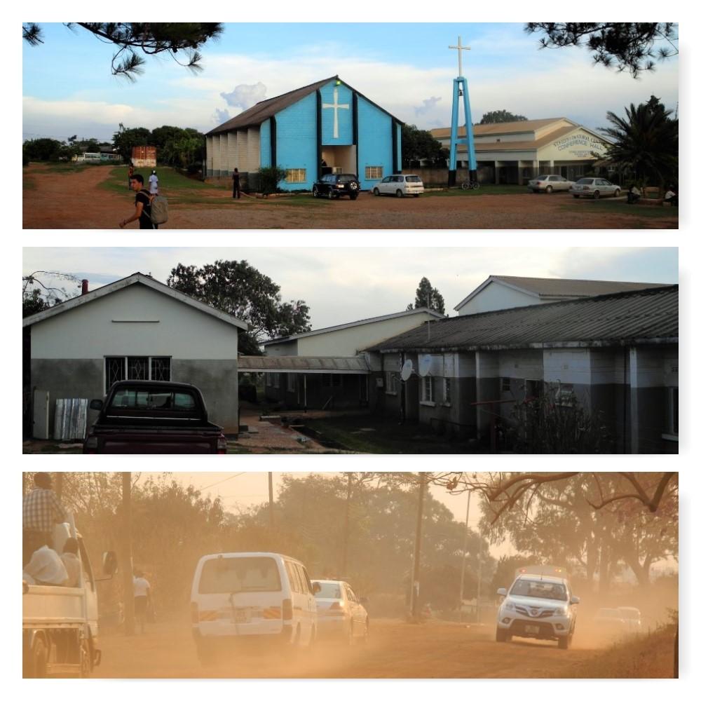 St Kizito, das Pastoral Centre hinter der Kirche und eine der staubigen Straßen