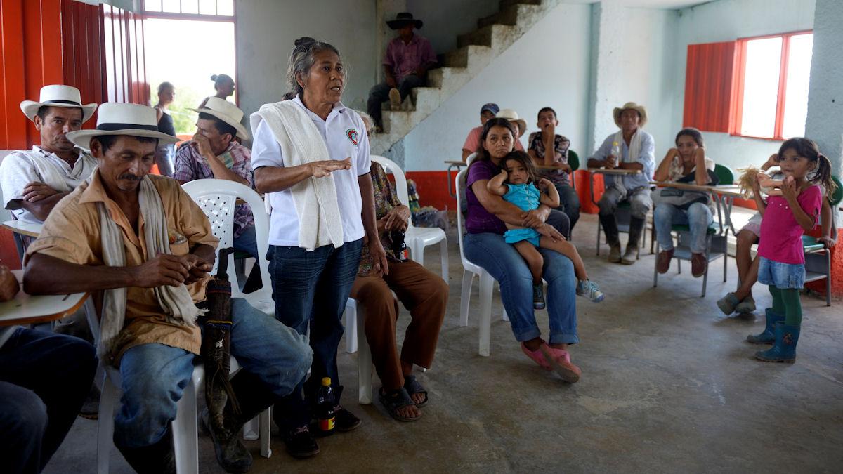 Rubiela Morales, Dorfbewohnerin und Opfer von Vertreibung, Dorf Verera de Boqueron, San Francisco, Departamento Antioquia, Kolumbien; Foto: Florian Kopp/Misereor