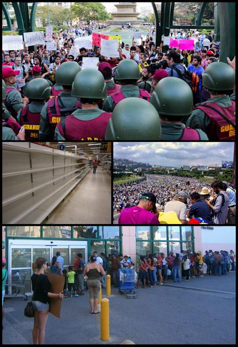 Die Krise in Venezuala währt schon lange: Demonstranten am Altamira Platz am 18. März 2014. Leere Ladenregale in einem venezolanischen Geschäft. Millionen Venezolaner protestieren am 26. Oktober 2016 in Caracas. Menschen stehen in Schlange vor den Ladengeschäften an. © ZiaLater /wikipedia.de