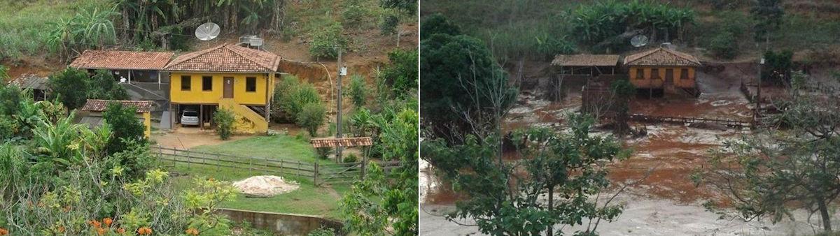 Das Haus von Maria do Carmo und ihrer Familie vor und nach der Schlamm-Katastrophe. @ Christina Weise