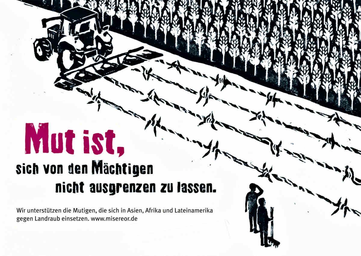 Misereor-Plakat zum Thema Landgrabbing