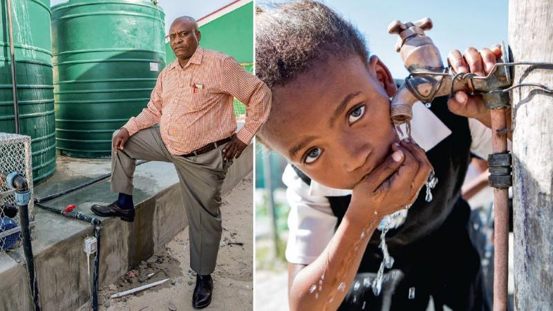 Um Wasser in der Schule zu sparen, müssen die Kinder jeden Morgen einen Liter Trinkwasser von zu Hause mitbringen. © Karin Schermbrucker / MISEREOR