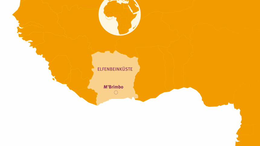 Die Elfenbeinküste auf der Weltkarte. © Kakoii Berlin/MISEREOR