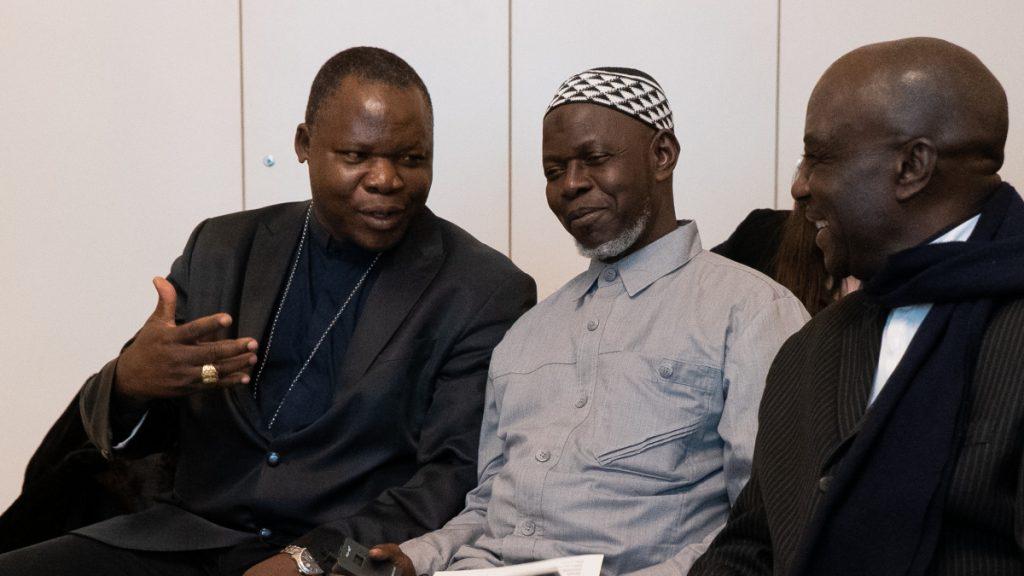 Die drei religiösen Führer der Interreligiösen Plattform: Kardinal Dieudonné Nzapalainga, Imam Layama Oumar Kobine und Pastor Philippe Sing-Na. (v.l.n.r) © HOUSE OF ONE