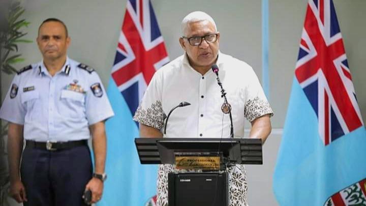Fidschis Premierminister Bainimarama bei einer Pressekonferenz zu COVID-19 am 2. April 2020