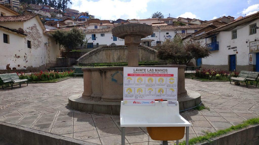 öffentliche Handwaschbecken in Cusco in Peru