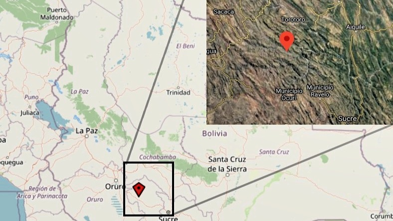 Kartenausschnitt Projektgebiet Nord-Potosí in Bolivien