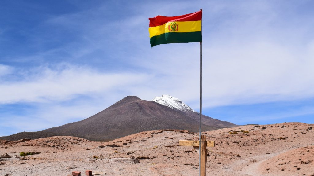 Bolivien Flagge Berge