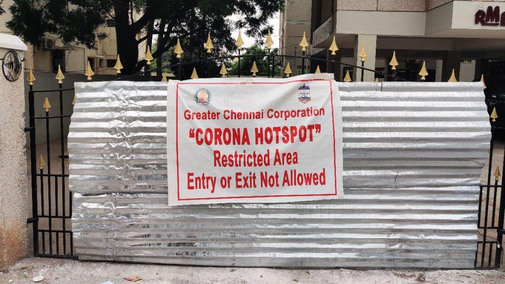 Corona-Maßnahmen in Chennai: Gebäudezugang nicht erlaubt