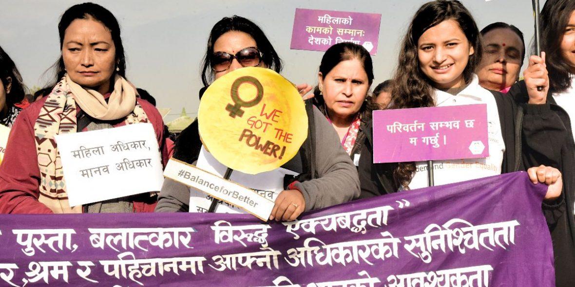 Weltfrauentag Proteste Nepal WOREC Gender Based Violence