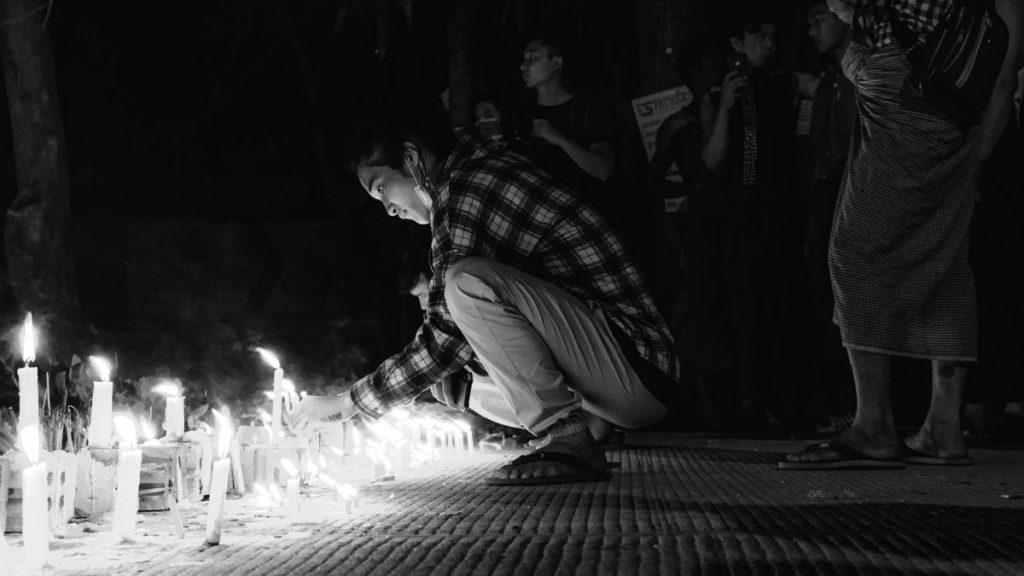Yangon Myanmar Gedenken und Proteste 2021